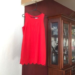 Red scalloped dress!